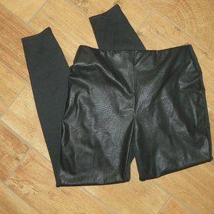NEW Black Ponte Faux Leather Stretch Leggings M